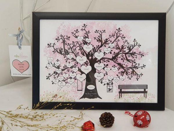 family tree black frame